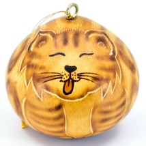 Handcrafted Carved Gourd Art Licking Cat Kitten Kitty Ornament Made in Peru - $16.82