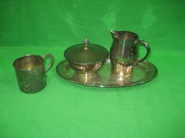 Oneida 5 Piece Set Vintage Paul Revere Silver Plated Sugar Bowl Cream Pot & Tray - $21.46