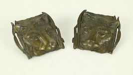 "Vintage Jaguar Cat Leopard Bronze Tone "" JJ JONETTE "" Earrings Costume J... - $18.51"