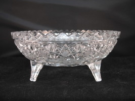 McKee INNOVATION Candy Nut Dish 3 Toed Harvard Cut & Pressed Bowl Clear - $14.95
