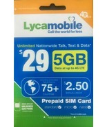 Lycamobile $29 Plan Preloaded SIM Card free 1Month 5GB  Data Unlimited T... - $10.79