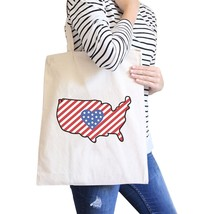 USA Map American Flag Cotton Shoulder Bag Cute Heart Design Tote - $15.99