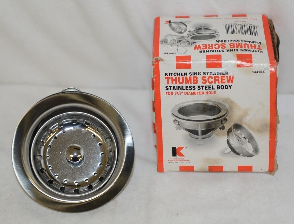 Keeney 1441SS Thumb Screw Kitchen Sink Strainer Stainless Body