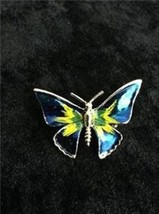 "Small Butterfly Pin 1"" x 1.25"" Gold Tone Blue &... - $4.95"