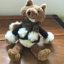 Bath & Body Works Plush Brown Fox w Big Fluffy Tail & Puffer Sweater Jacket Stuf - $8.59