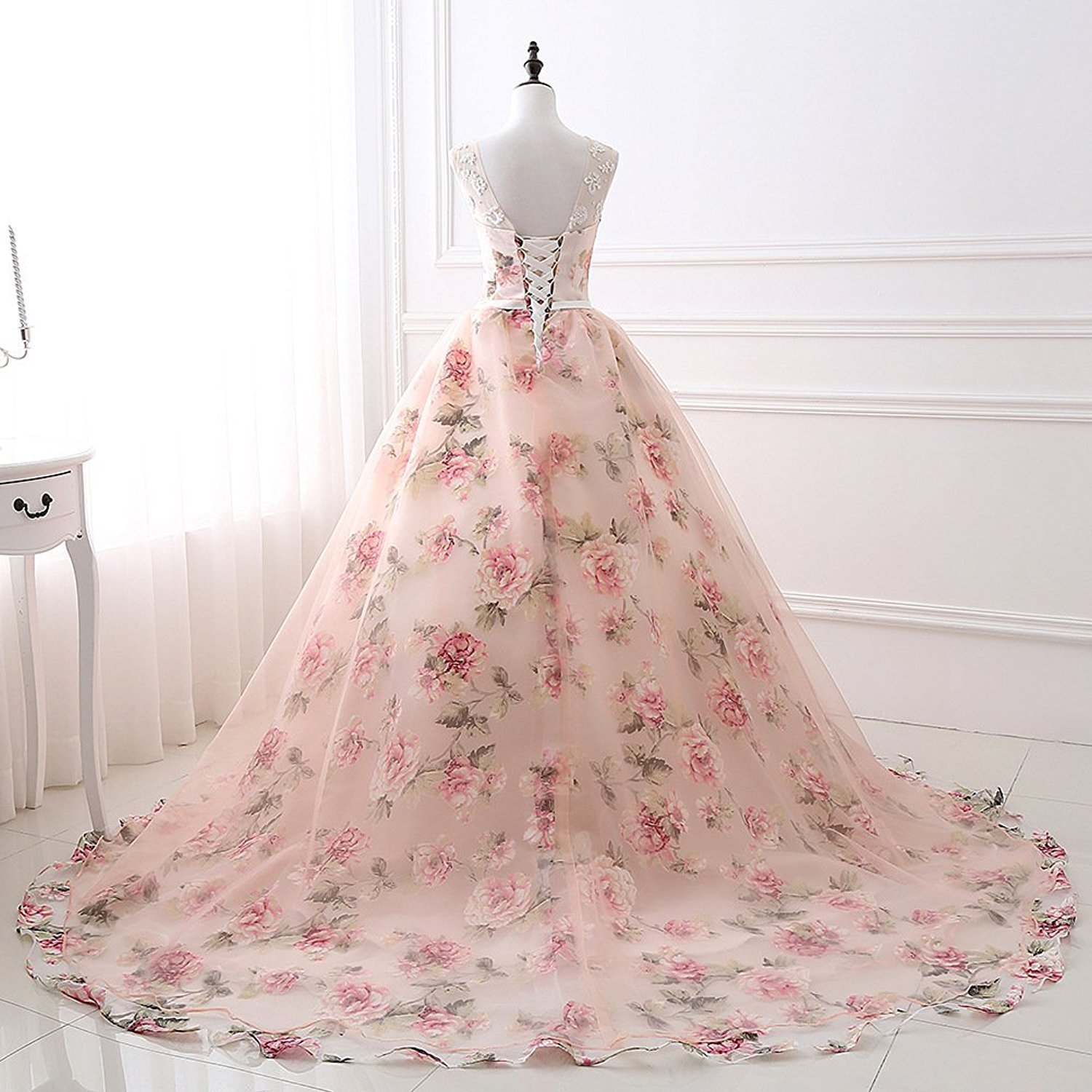 Women's Ball Gown Embroidery Floral Print Long Evening Gown Formal Prom Dress