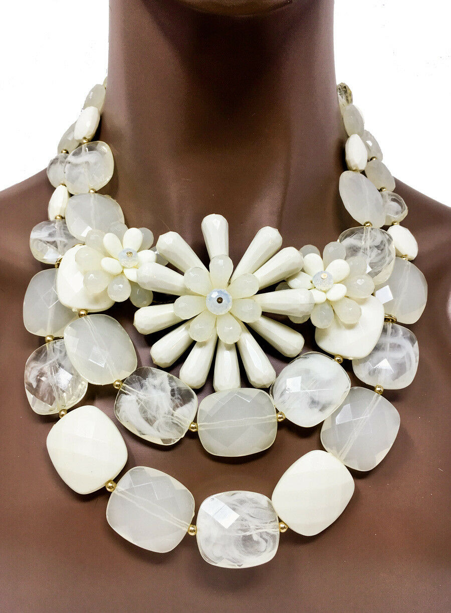 Primary image for Drag Queen Pageant Chunky Cleopatra Bib Necklace Earrings Beige Plastic Lucite