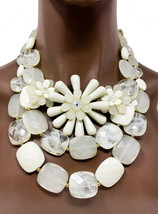 Drag Queen Pageant Chunky Cleopatra Bib Necklace Earrings Beige Plastic ... - $25.43