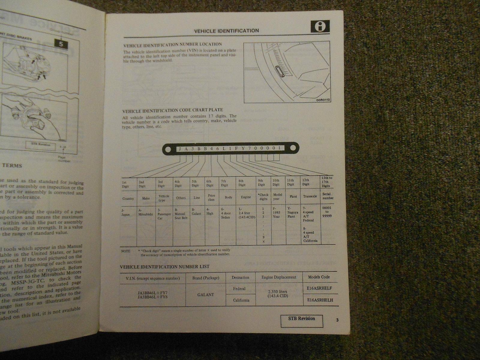 1985 MITSUBISHI Galant Service Repair Shop Manual SET 2 VOL FACTORY OEM BOOK 85