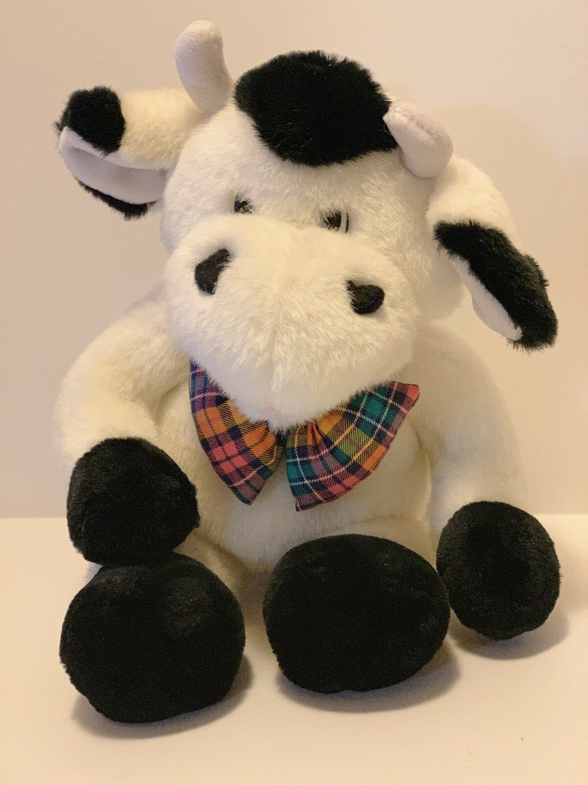 "Commonwealth Plush Cow Black White Stuffed Animal Plaid Bow Tie Soft 14"" Toy image 7"