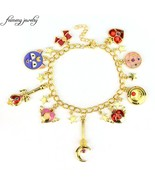 Sweet Anime Sailor Moon Charm Bracelet Luna Cat Bowknot Pentacle Stars E... - $12.07