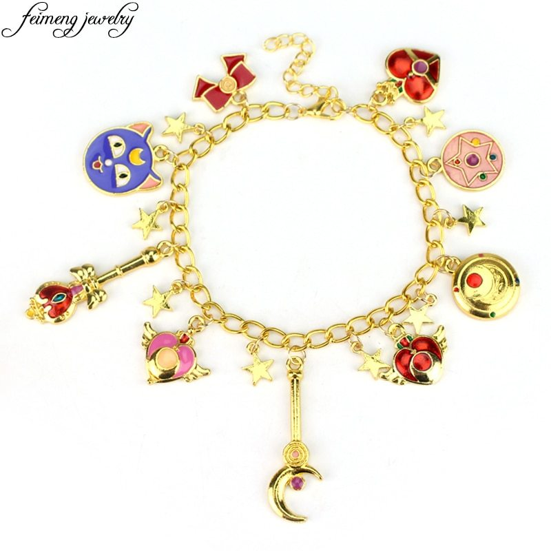 Primary image for Sweet Anime Sailor Moon Charm Bracelet Luna Cat Bowknot Pentacle Stars Enamel Ac