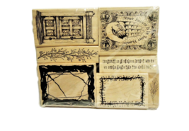 Set of 7 NEW Wood Mounted Rubber Stamps, Various