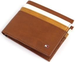 NEW TOMMY HILFIGER MEN'S LEATHER DOUBLE BILLFOLD ID WALLET HONEY TAN 31TL130014 image 1