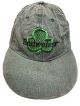 BUDWEISER 3 Leaf Clover Green St Patricks Day Adjustable Adult Ball Cap Hat - $14.84