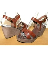 ❤ j. crew Italy brown leather ankle-strap platform wedge sandal 9m Great! l - $31.62
