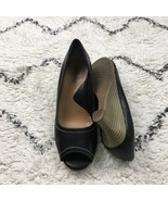 What's What Aerosoles Black Leather Peep Toe Wedges Size 8.5 - $15.44