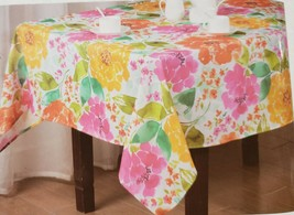 "Fabric Linen Tablecloth 60""x104"" Oblong (8-10 ppl) COLORFUL FLOWERS,BLOS... - $22.76"