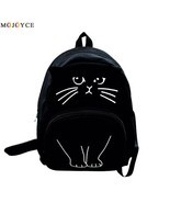 Lovely Cat Printing Backpack Women Canvas School Backpack For Teenagers - $557,84 MXN