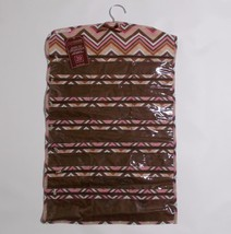 39 Pocket Hanging Jewelry Organizer Closet Candie Chevron Stripes Brown ... - $29.69