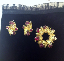 1950's Gold and Ruby Toned Earrings & Brooch, Vintage 50's Pin Up Jewelr... - $39.99