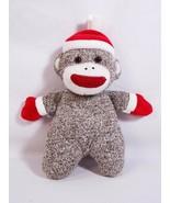 "Baby Starters 9"" Sock Monkey Rattle Stuffed Plush Toy Red Winter Hat & ... - $9.89"