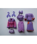 Polly Pocket Doll Outfit Lot Jacket Dress Top Pants Shoes Clothing Hange... - $5.89
