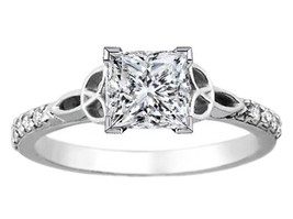 Princess Diamond Celtic Knot Engagement Ring with Diamond Accents 14K Wh... - $2,305.62