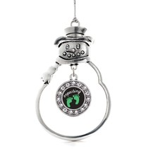 Inspired Silver We're Expecting! Footprints Circle Snowman Holiday Chris... - $14.69