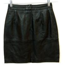 Vintage 80's Black GENUINE LEATHER Mini Pencil Skirt Lined Straight 36 X... - $21.49