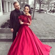 Elegant A Line Off Shoulder Long Sleeves Red Lace Satin Evening Formal Dress - $255.66