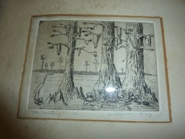 "Vintage small framed drawing ""The Meeting"" signed Virginia Day swamp scene - $19.34"