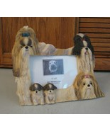 Shih Tzu Picture Frame Dog & Puppies Family 4 x 6 Inch Photo Resin Cuteness - £9.32 GBP