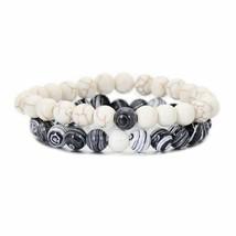 2pcs/set Handmade Elastic Couples Distance Bracelets For Women Men Zebra... - $6.39