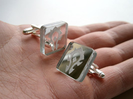 Horde Cuff  Links, Engraved  And Lasercut Rectangle Mirror plastic - - $17.95