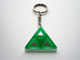 Zelda Triforce Keychain - Legend of Zelda - Laser Cut  Green Acrylic and... - $13.95