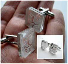 Vendetta Cuff  Links, Engraved  And Lasercut Rectangle Mirror plastic - $17.95