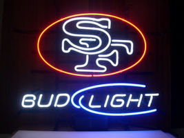San Francisco 49ers Bud Light Neon Sign Handcrafted Real Glass Neon Ligh... - $124.95+