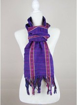 Scarf hand woven in back strap loom, blue and red, from Chiapas, Mexican... - $30.00