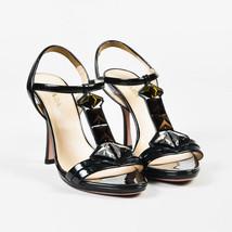 Prada Black Patent Leather Crystal Embellished T Strap Heeled Sandals SZ 39 - $85.00