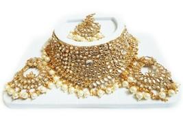 Indian Bridal GOLD Choker Necklace, Earrings & Maang Tikka Set, White Beads - $23.21