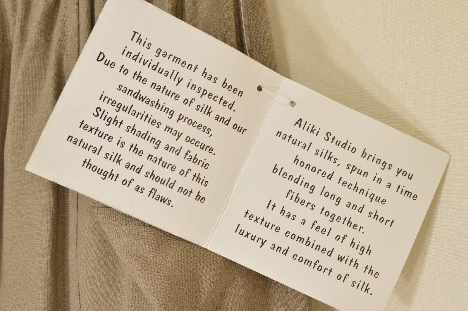 Aliki Studio skirt SZ M NWT beige brown 100% silk straight slits pockets