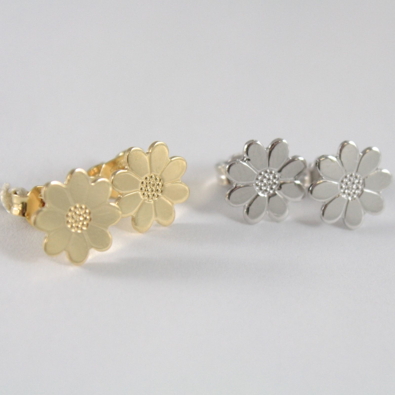 YELLOW GOLD EARRINGS 0,5 WHITE 750 18K, DAISY, FLOWER, LENGTH 0.9 CM