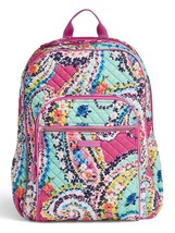 Vera Bradley Quilted Signature Cotton Iconic Campus Backpack, Wildflower Paisley