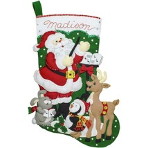 Bucilla Santas Choir Practice Deer Penguin Christmas Felt Stocking Kit 86930E - $39.95