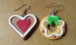 Gingerbread Heart and Wreath Earrings on Surgical Steel Ear Hooks Made I... - $19.99