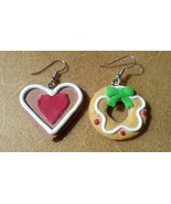 Gingerbread Heart and Wreath Earrings on Surgical Steel Ear Hooks Made In USA - $19.99