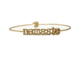 Namaste Inspirational Message Stencil Wire Hook Clasp Bangle Bracelet - $12.95