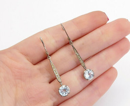 925 Sterling Silver - Vintage Blue & White Topaz Round Dangle Earrings -... - $23.33