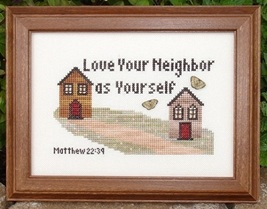 Love Your Neighbor MBT020 religious cross stitch chart My Big Toe Designs - $8.00